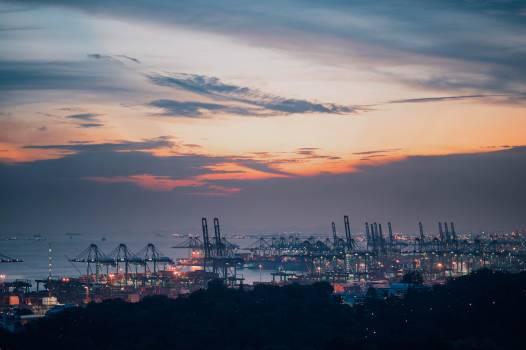 Ship Cargo ship Night Free Photo