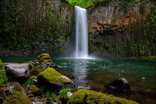 Rocks Covered With Green Moss Near Waterfalls #31930