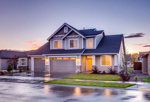 Blue and Gray Concrete House With Attic during Twilight Free Photo