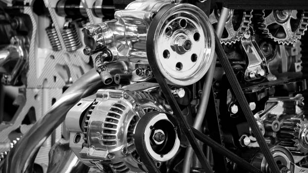 Greyscale Photography of Car Engine #32106