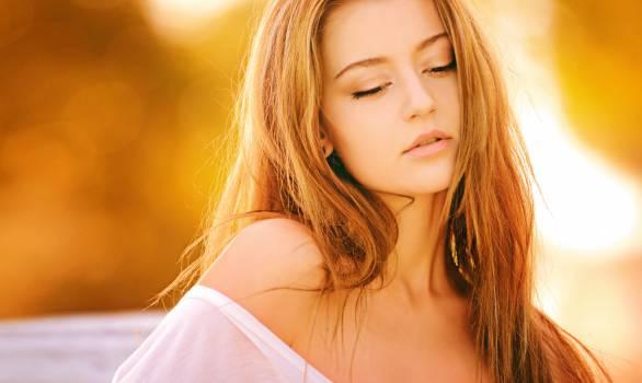 Brunette Woman Blonde Long Hair in White Off Shoulder Sleeve at Daytime #32233