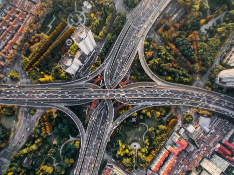 Bird's Eye View of Intersection and Overpasses during Daytime Free Photo