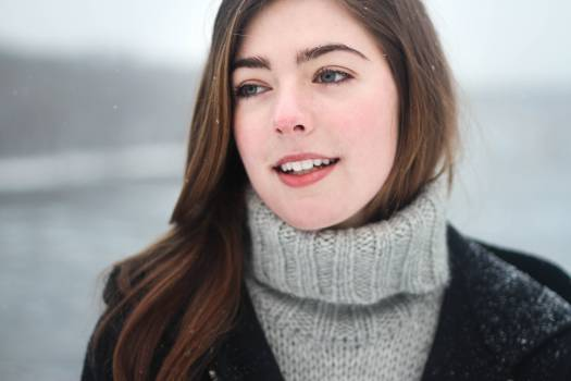 Woman in Grey Knit Sweater #32330