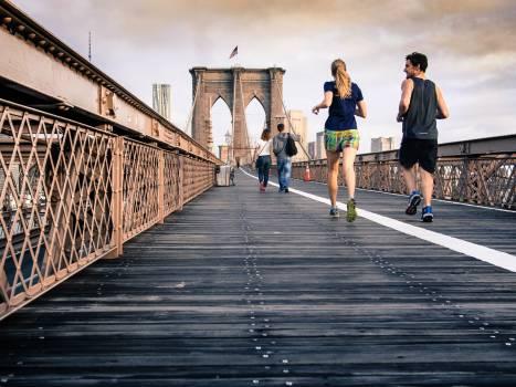 Bridge runners morning cloudy #32398
