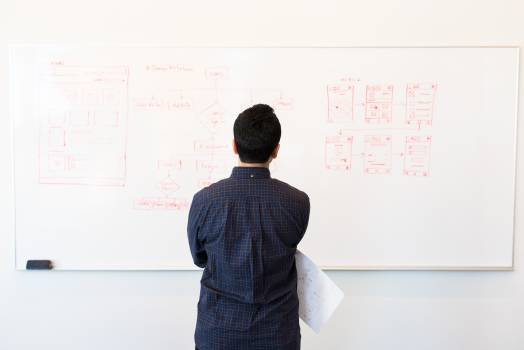Man Standing Infront of White Board Free Photo