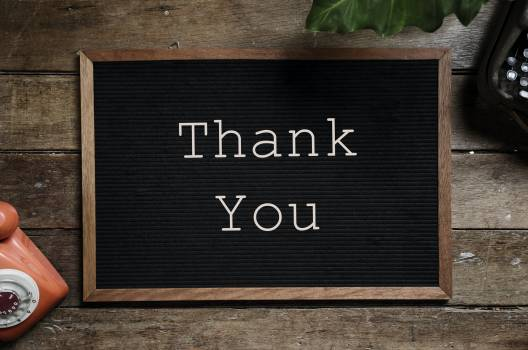 Thank You Text on Black and Brown Board Free Photo