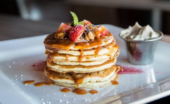 Pancake With Sliced Strawberry Free Photo