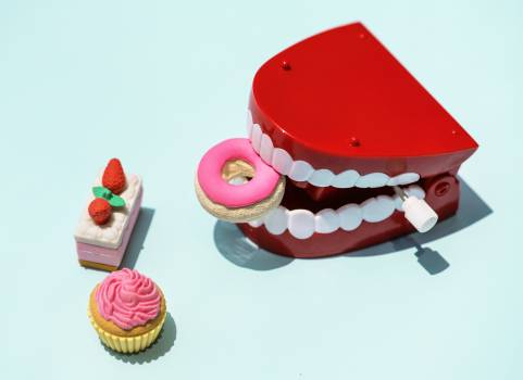 Red and White Mouth Plastic Toy and Food Plastic Toys #328266