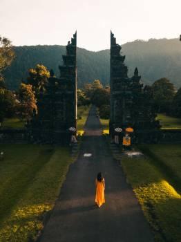 Woman Walking in Road #328598