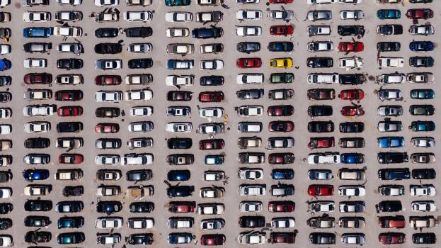 Aerial View of Parking Lot #328625