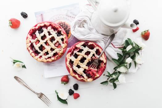 Strawberry and Raspberry Pie Near White Ceramic Pitcher Free Photo