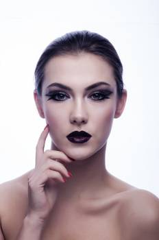 Naked Woman in Black Eyeliner and Maroon Lips #32948