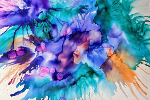 Purple and Teal Splash Painting Free Photo