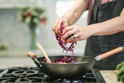 Person Cooking Red Cabbage #329606