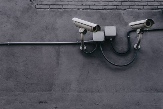 Two Gray Bullet Security Cameras Free Photo