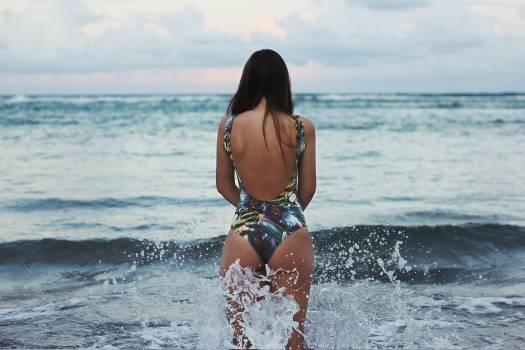 Woman girl sea waves #32964