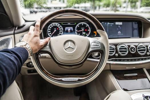 Grey Mercedes Benz Steering Wheel Free Photo