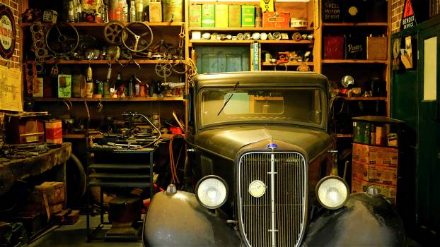 Black Classic Car Inside the Garage #32987
