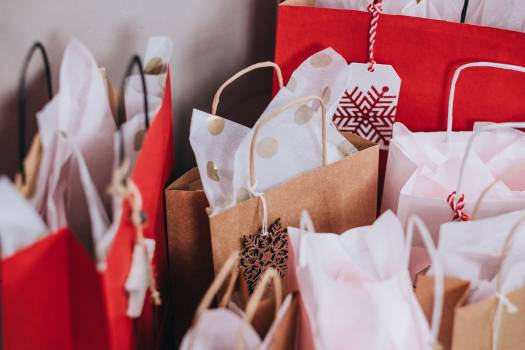 Paper Bags Near Wall Free Photo