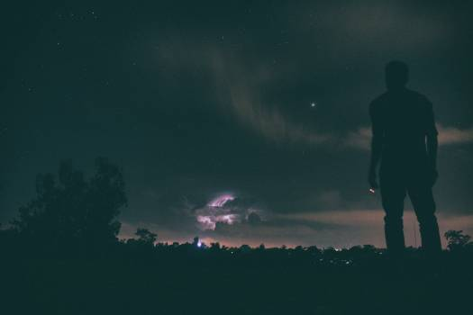 Silhouette of Man Standing Distance Trees during Night Time #32990