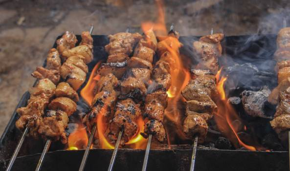 Grilled Meats on Skewers Free Photo