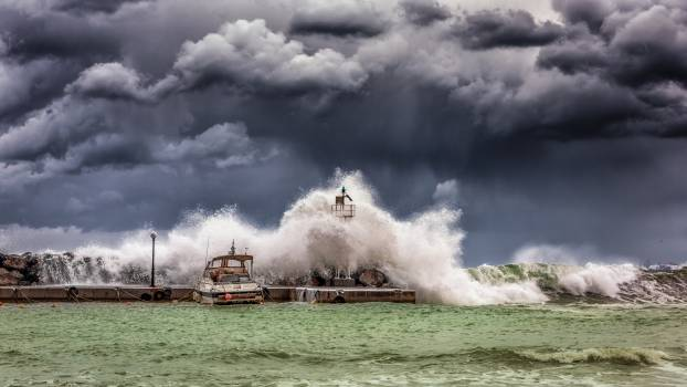 Big Waves Under Cloudy Sky Free Photo