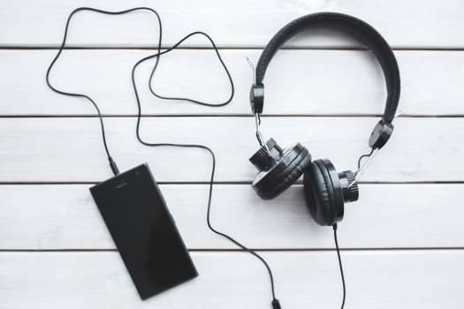 Black headphones with mobile smartphone #332046