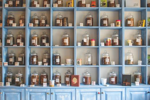 Assorted Jars on Blue Shelf Cabinets #33208