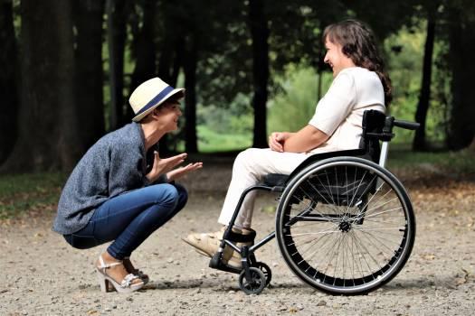 Woman on Black Folding Wheelchair #332284