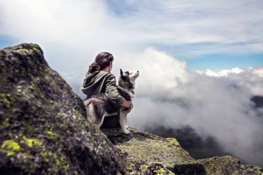 Clouds girl mountain dog Free Photo