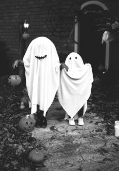 Two People Dressed As Ghost Free Photo
