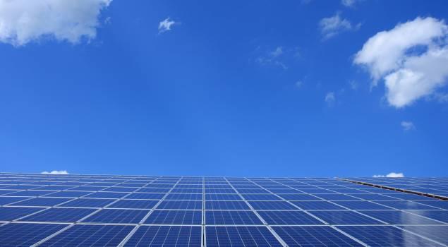 Blue Solar Panels Under Sunny Sky #332559