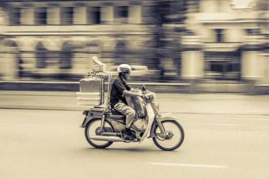 Man Riding on Motorcycle Free Photo