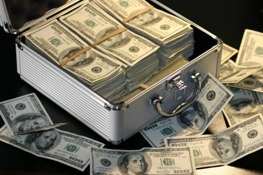 Grey Metal Case of Hundred Dollar Bills #333015