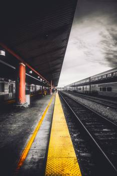 Selective Color Photography of Train Station Free Photo