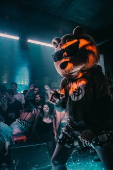 Person Wearing Bear Mask Dancing on Stage Free Photo