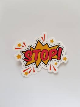 Red and Yellow Stop! Sticker Free Photo