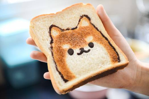 Slice of Loaf Bread With Dog Face Free Photo