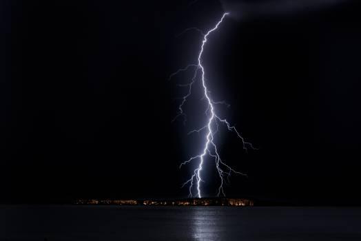 Lightning Strike on City Free Photo
