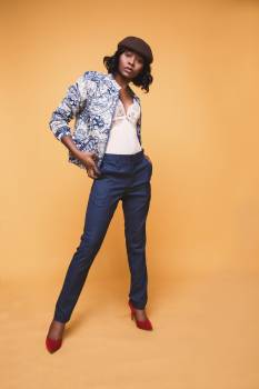 Woman in Blue and White Jacket and Blue Dress Pants Free Photo