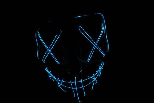 Blue-light Skull Signage Free Photo