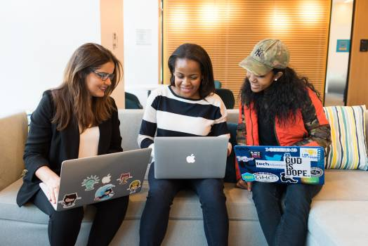 Three Woman in Front of Laptop Computer Free Photo