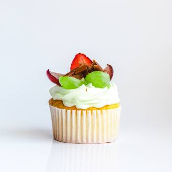 White and Yellow Cupcake With Fruit Toppings #334067