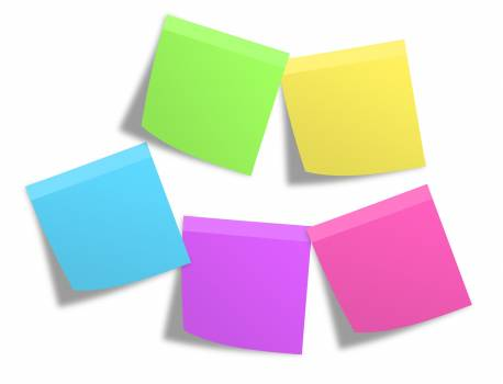Pink Green Yellow Blue and Purple Sticky Note Mounted on White Painted Wall Free Photo