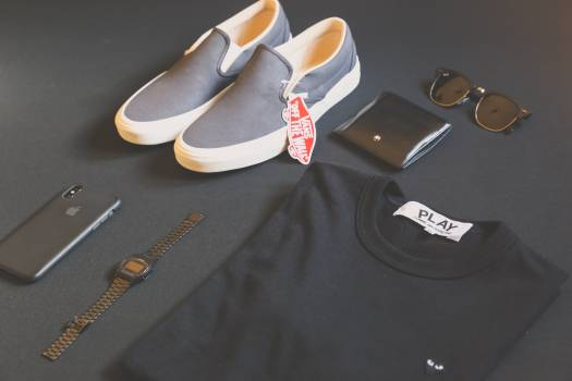 Pair of Gray Vans Low-top Sneakers Beside Black Shirt, Sunglasses, and Watch Free Photo