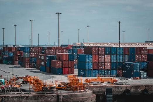 Intermodal Container Stacked on Port Free Photo