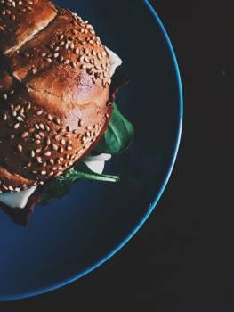 Burger on Blue Ceramic Plate Free Photo