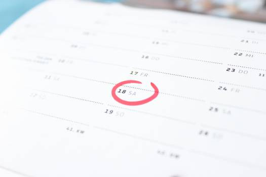 Tilt Photography of Calendar Schedule Number 18 Free Photo