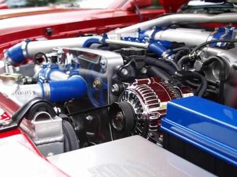 Blue Silver Black Car Engine Free Photo