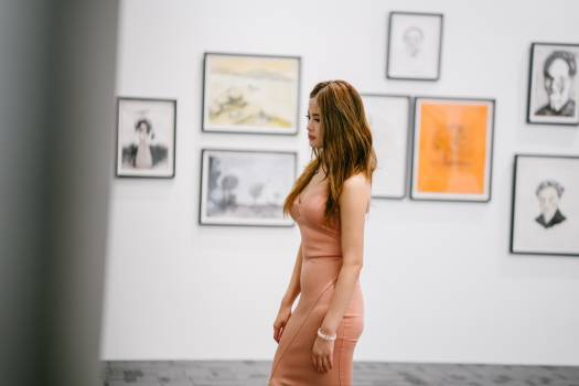 Woman Standing Near Paintings On Wall #334699
